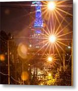 Cleveland Downtown Street View At Night Metal Print