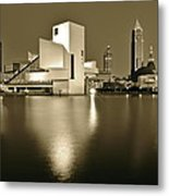 Cleveland In Sepia Metal Print