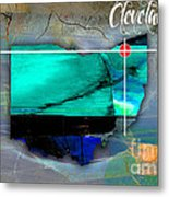 Cleveland Ohio Map Watercolor Metal Print