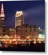 Cleveland Panoramic Night Metal Print