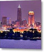 Cleveland Skyline At Night Evening Panorama Metal Print by Jon Holiday