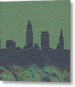 Cleveland Skyline Brick Wall Mural Metal Print