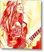 Cliff Burton Playing Bass Guitar Portrait.1 Metal Print
