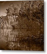 Cliff Face Northshore Mn Bw Metal Print
