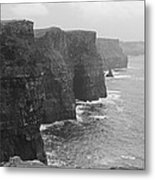 Cliff Of Moher Ireland Bw Metal Print