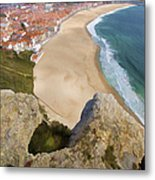 Cliff Of The Seaside Village Of Nazare Metal Print