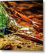 Cliff Rocks And Waterfall Metal Print
