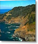 Cliffs At Cape Foulweather Metal Print by Adam Jewell
