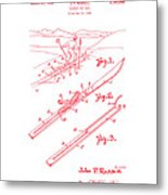 Climber For Skis 1939 Russell Patent Art Red On White Metal Print