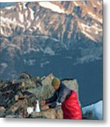 Climber Lights His Ultralight Stove Metal Print
