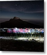 Climbers Trace Ghostly Shapes Metal Print
