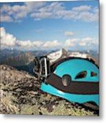 Climbing Helmet With Camera On Mountain Metal Print