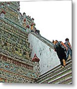 Climbing Many Steps At Temple Of The Dawn-wat Arun In Bangkok-th Metal Print