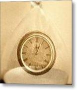 Clock In An Hour Glass Metal Print