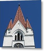 Clock Tower. Evangelic Lutheran Church. Silute. Lithuania. Metal Print