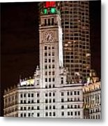 Clock Tower In Chicago  Metal Print