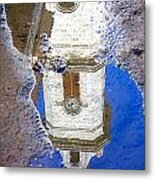Clock Tower Reflected Metal Print
