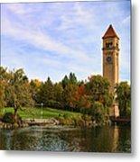 Clocktower And Autumn Colors Metal Print