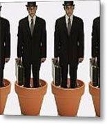 Clones Of Man In Business Suit Standing Metal Print by Darren Greenwood