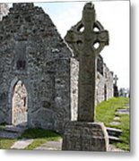 Clonmacnoise Cathedral  And High Cross Ireland Metal Print