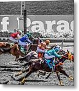 Close Finish At Turf Paradise Metal Print