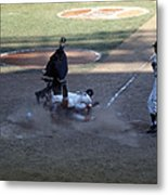 Close Play At The Plate  Metal Print