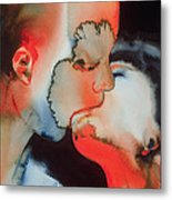 Close Up Kiss Metal Print