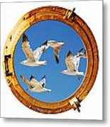 Close-up Of A Boat Closed Porthole With Flying Seagull On The White Background Metal Print