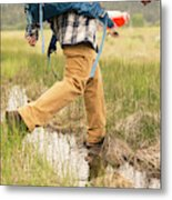 Close-up Of A Male Hiker Metal Print