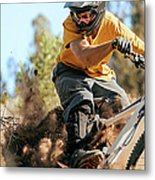 Close Up Of A Mountain Biker Ripping Metal Print