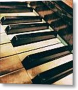 Close Up Of An Old Piano Metal Print