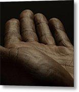 Close Up Of An Open Male Hands, Dark Metal Print