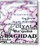 close up of Baghdad on map-Iraq Metal Print