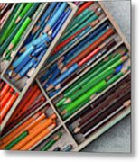 Close-up Of Color Pencils, Ishoj Metal Print