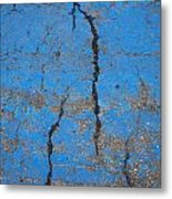 Close Up Of Cracks On A Blue Painted Metal Print by Perry Mastrovito