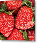 Close Up Of Delicious Strawberries Metal Print