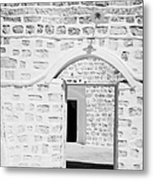close up of front doorway entrance to family home berber troglodyte underground dwelling at Matmata Tunisia Metal Print