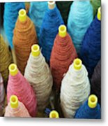 Close Up Of Japanese Textile Material Metal Print