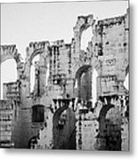 Close Up Of Remains Of Upper Deck In The Old Roman Collosseum At El Jem Tunisia Metal Print