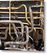 Close-up Of Tangled Pipes Metal Print