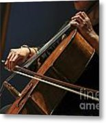 Close Up Of The Cellist's Hands Metal Print