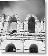 Close Up Of The Top Of The Old Roman Colloseum Against Blue Cloudy Sky El Jem Tunisia Metal Print