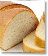 Close-up Of White Bread With Slices Metal Print