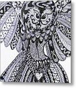 Close Up Owl White Metal Print