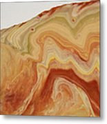 Close-up Two Of Agate Seven From The Poured Agate Painting Collection Metal Print