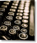 Close Up Vintage Typewriter Metal Print by Edward Fielding