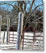 Closed Gate In Winter  Metal Print