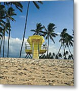 Closed Lifeguard Shack On A Deserted Tropical Beach With Palm Tr Metal Print