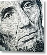 Closeup Of A Five Dollar Bill Metal Print