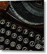 Closeup Of Antique Typewriter Metal Print